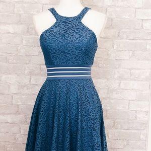 Dresses & Skirts - Blue floral design cut out mesh dress.
